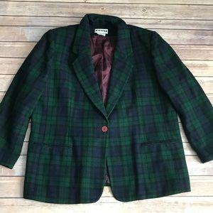 Vintage, plaid, blue and green plaid blazer- 18.